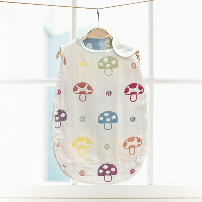 40*60cm Cotton 3 Layers Gauze Baby Child Sleeping Bag Children Ank Kick Mushroom Pattern Sleepsacks 4 Seasons Vest Sleepwear
