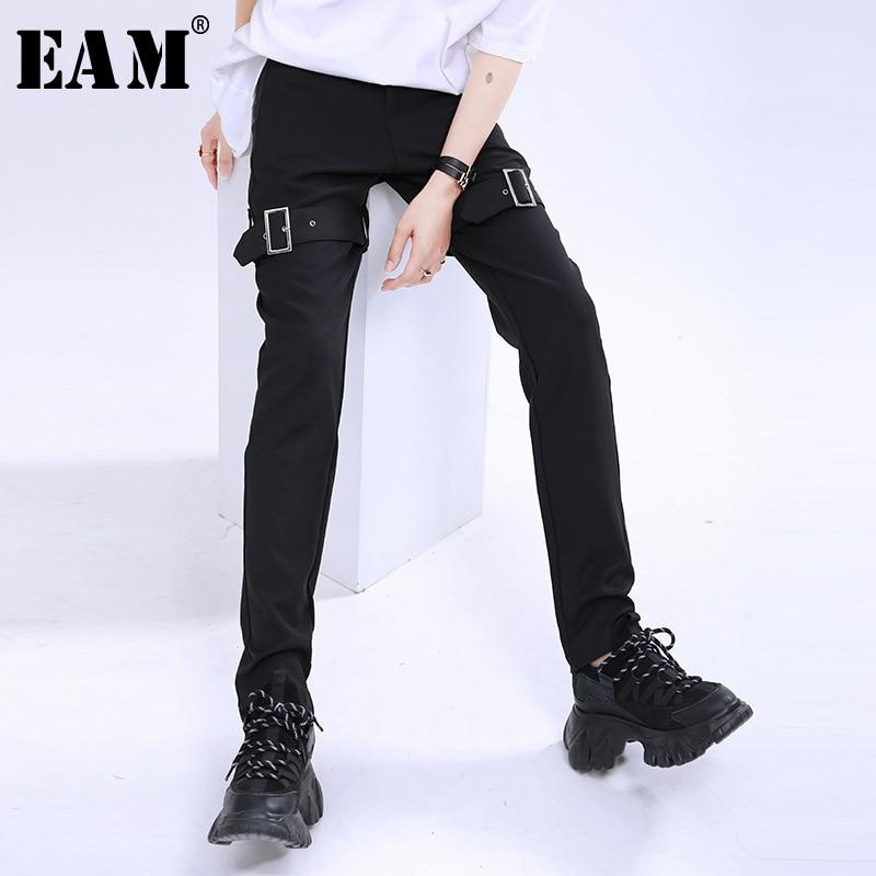 [EAM] High Waist Black Zipper Buckle Split Joint Long Trousers New Loose Fit Pants Women Fashion Tide Spring Summer 2020 1U497