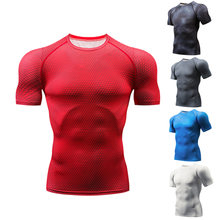 2019 Running Shirt Quick Dry Compression Men's Short Sleeve T-Shirts Fitness Tight Tennis Soccer Jersey Gym Demix Sportswear(China)