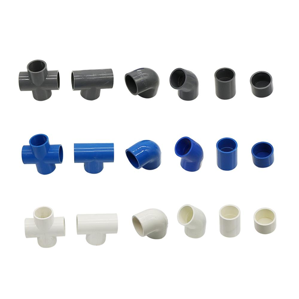 32mm Inner Diameter PVC Connector Water Supply Pipe Fittings Straight Elbow Solid Equal Tee Four-way Connectors Irrigation Joint