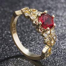 Gold Luxury Classic Top Ruby Ring with High Quality Zircon CZ Classic Romantic Wedding Ring Gift Elegant Style Fashion Jewelry стоимость