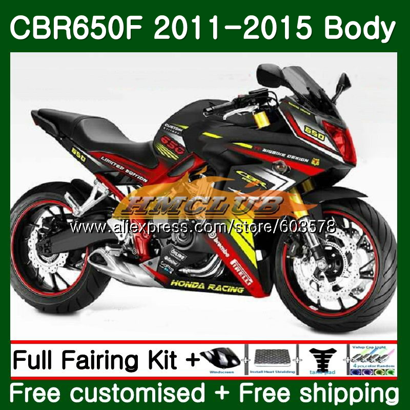 CBR-650F Pour HONDA CBR 650F 650 F 2011 2012 2013 2014 2015 130CL. 13 CBR650 F CBR-650 CBR650F 11 12 13 14 15 Carénage noir Brillant