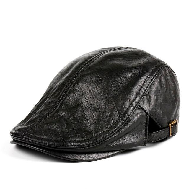 Hats Men Women Street Bonnet Genuine Leather Beret Male Thin Hats 55-61 cm Adjustable Forward Cap Leisure Duckbill Casquette 2