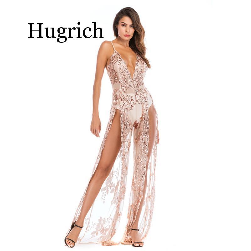 2020 Sequin Dress Spaghetti Strap V Neck Sexy High Split Long Maxi Party Dress Women Glitter Dress Vestidos Feminino