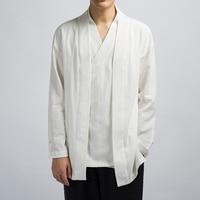 2019 Autumn Men Casual Chinese Tang Suit Tops Full Sleeve Linen Breathable Kungfu Tai Chi Uniform Oriental Haori Cardigan Jacket