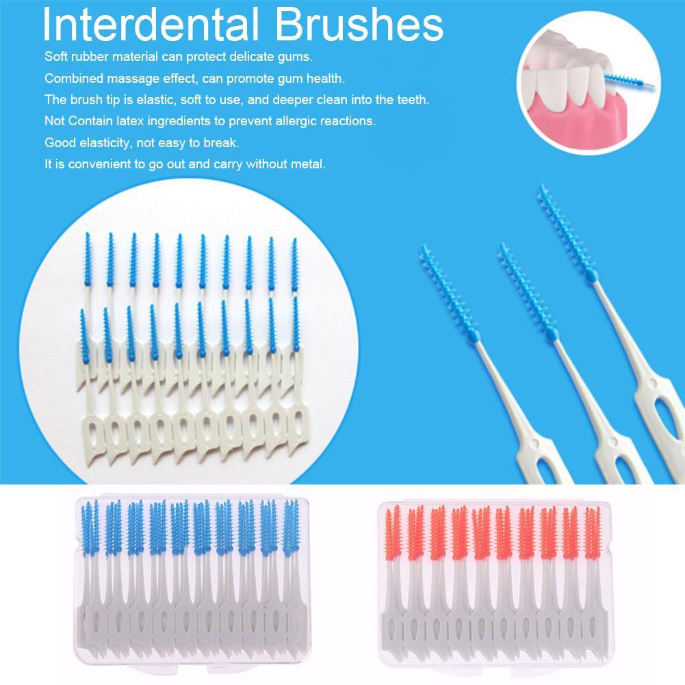40pcs Interdental Between Teeth Floss Brush Elastic Massage Gum Toothpick