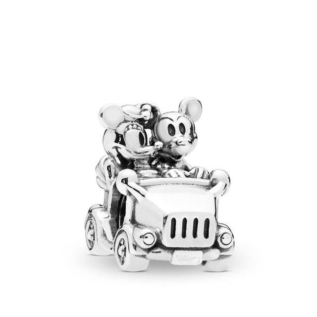 2 pièces/lot belle dinosaure hérisson dessin animé Mickey breloques perles ajustement Pandora Bracelets collier pour femmes bricolage bijoux accessoires