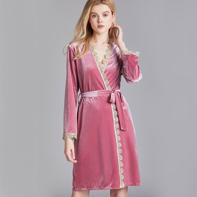 Mid-Length Nightgown Velvet Bathrobe Newest Style
