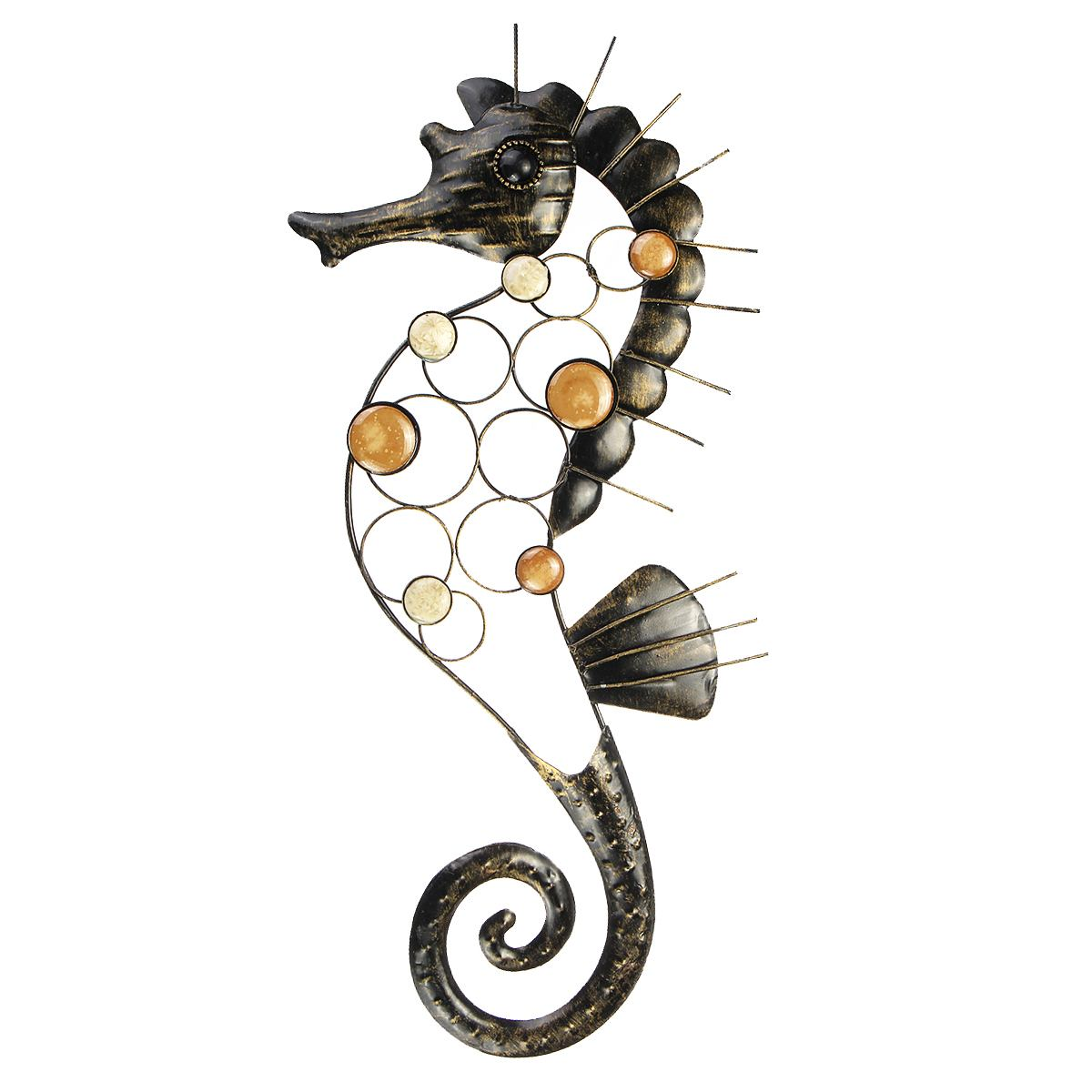 Large Metal Craft Seahorse Hanging Wall Art Garden 3D Decor Outdoor Indoor Home Ornament