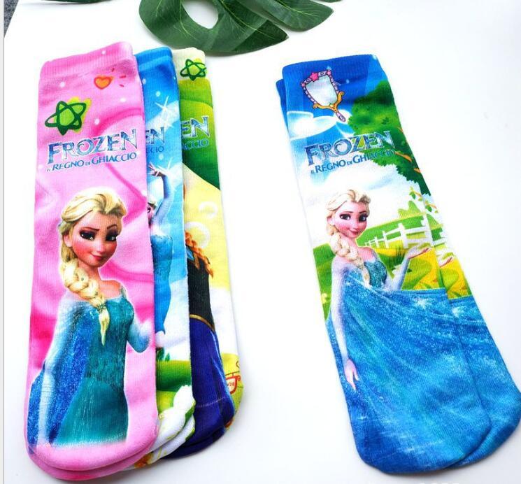 Cartoons Design Kids Mid-Length Socks Frozen Elsa Anna Princess Sofia Cars Mickey  Children Favorite Socks 6