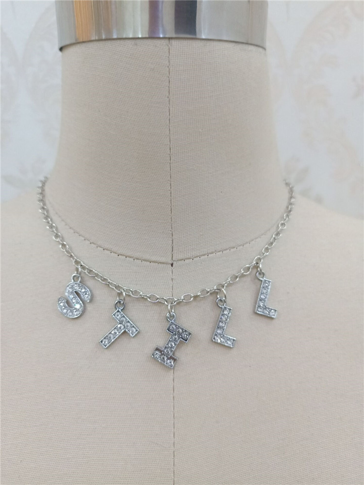 Hee5832169e29466f956e6246c43c343cv - Harajuku Letter Crystal Angel Necklace Women Jewelry Couple Gift Necklace BABY HONEY Choker Femme Punk Collier Drop Ship