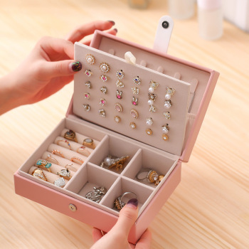 Multilayer Leather Jewelry Box Portable Storage Organizer Watch Ring Earring Holder Women Jewelry Display Travel Case Packaging outad 12 slots watches display box jewelry storage packaging gift casket double layers leather organizer holder rack case hot