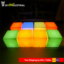 D40cmPE Material Rechargeable 16 color LED Square Cube Seat Chair Stool Waterproof LED table light cube chair Free Shipping black color living room stool pp seat steel metal leg red yellow green color chiar stool retail wholesale free shipping