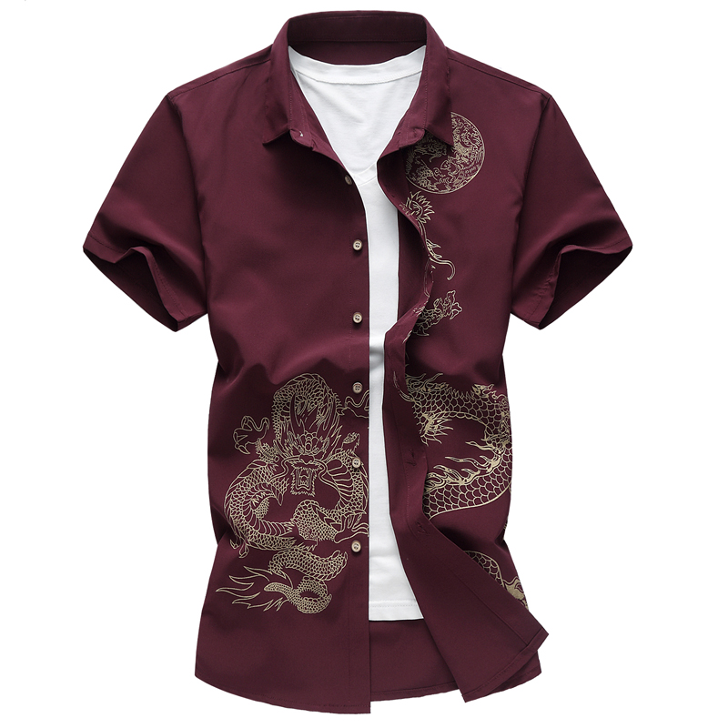 New Chinese style boys short sleeve <font><b>shirt</b></font> printed dragon <font><b>shirt</b></font> business casual <font><b>wine</b></font> <font><b>red</b></font> blue black men's <font><b>shirt</b></font> party wedding image