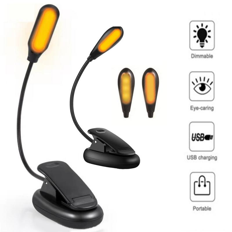 New Anti-Blue-ray Eye Protection Table Lamp Rechargeable Amber LED Clip-On Book Reading Light Clip Ledmusic Clip Lamp