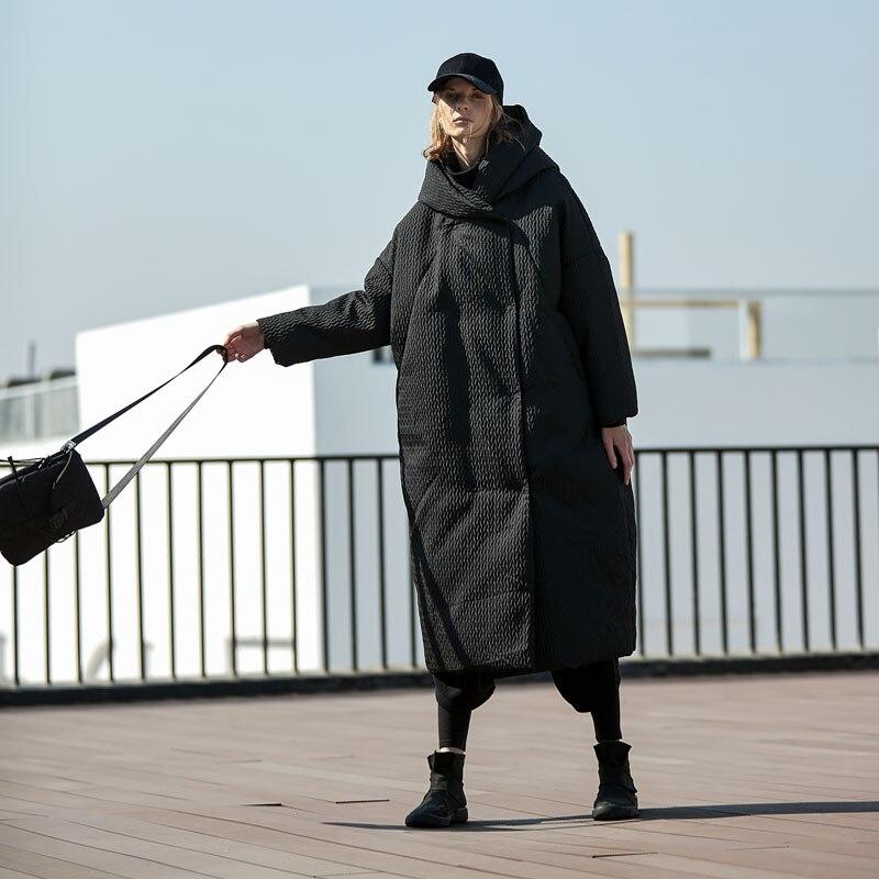 AIGYPTOS Winter Frauen Dicke Warme Übergroßen Mit Kapuze Unten Jacke Original Design Casual Ultra Lose Schwarz X Lange Puffer Jacke mantel