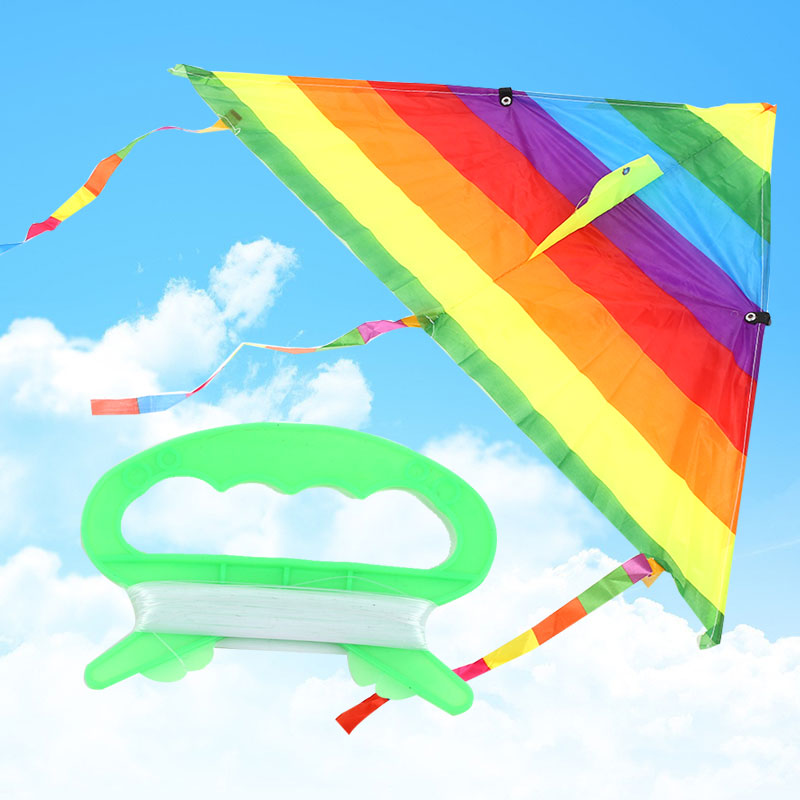 Outdoor Children's Triangle Polyester Rainbow Kite Multicolor Beautiful Kids Toy Fashion Novelty Kite Child Gift