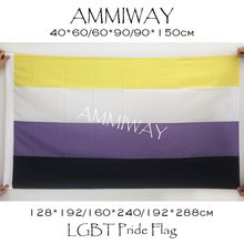 AMMIWAY Any Size Non Binary NB Pride Rianbow LGBT Flags Genderqueer GQ Gender Identity Non-Binary Single or Double Sided Fllag
