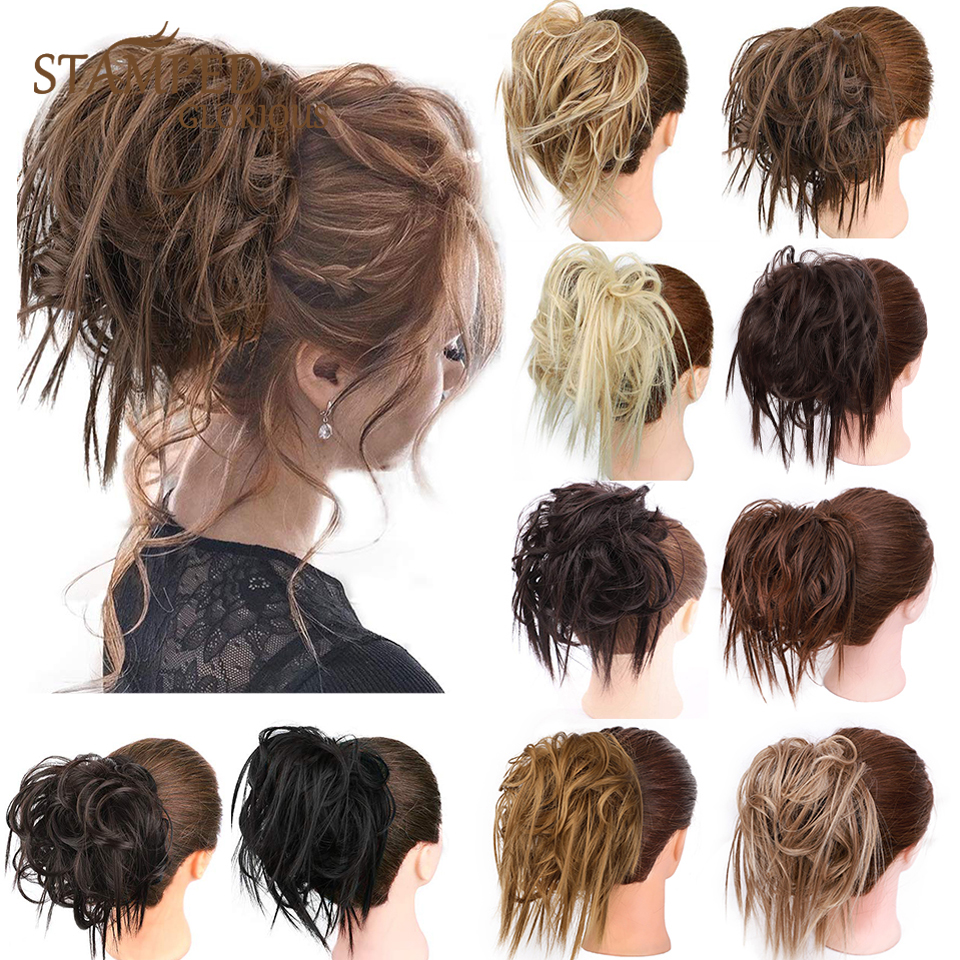 Stamped Glorious Synthetic Hair Buns Curly Scrunchy Chignon Elastic Messy Scrunchies Wrap For Ponytail Extensions For Women
