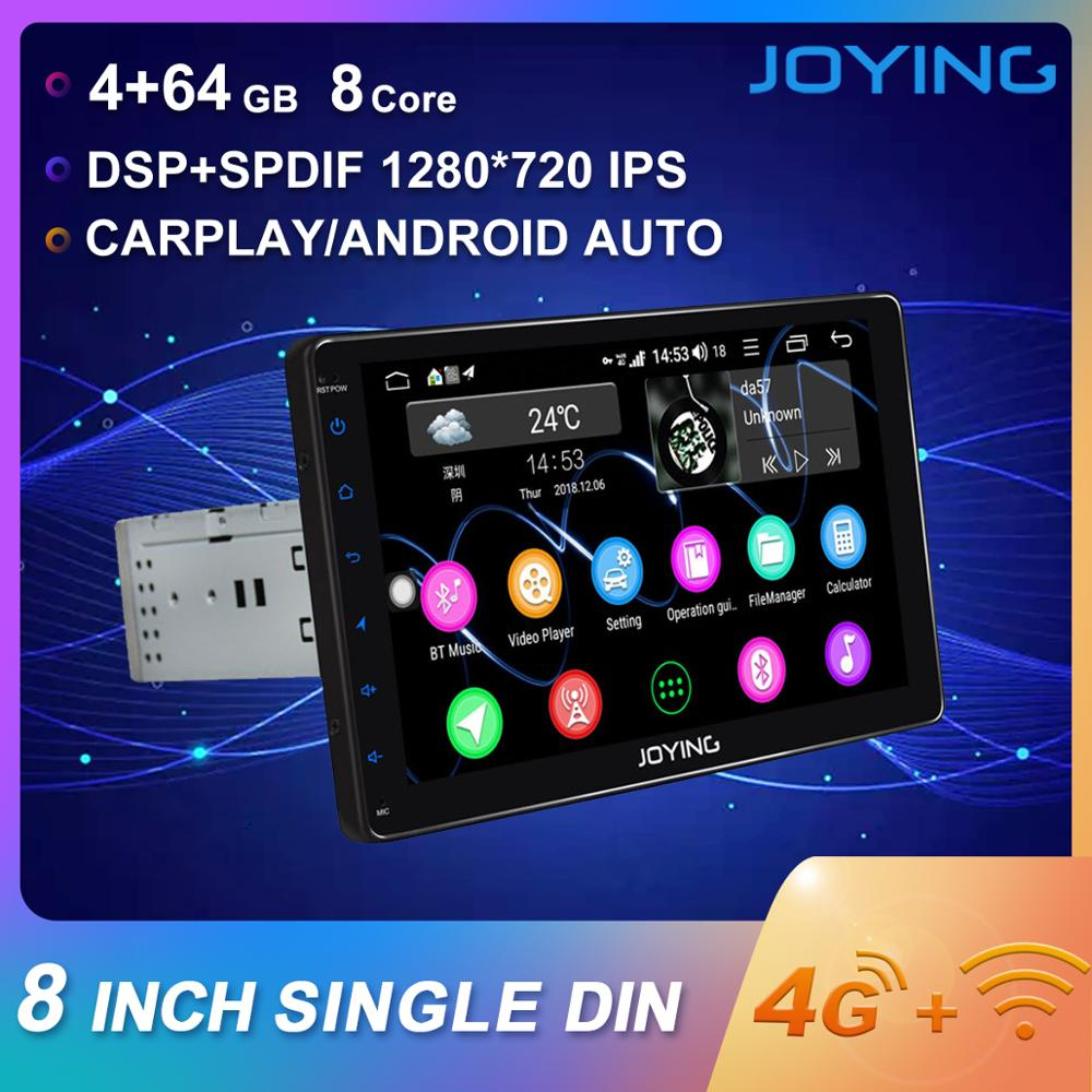 JOYING head unit 8 IPS 1280*720 Octa Core 4GB+64GB 1 din car radio universal stereo MP4 MP5 video player RDS support 4G GPS BT image