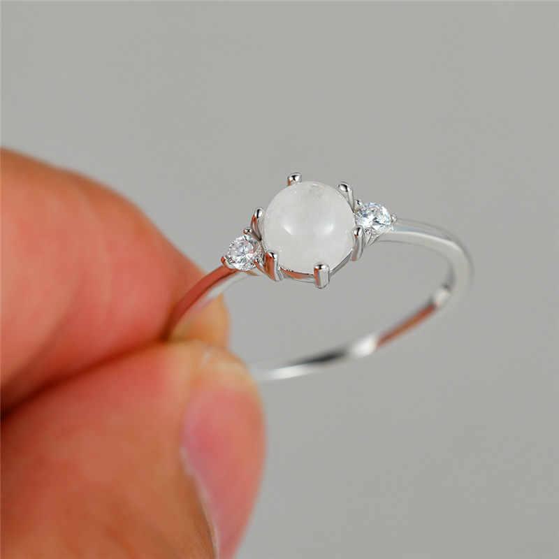 かわいい女性本物の小天然ムーンストーンリング 100% 925 スターリングシルバー愛婚約指輪ヴィンテージラウンドウェディングバンドリング
