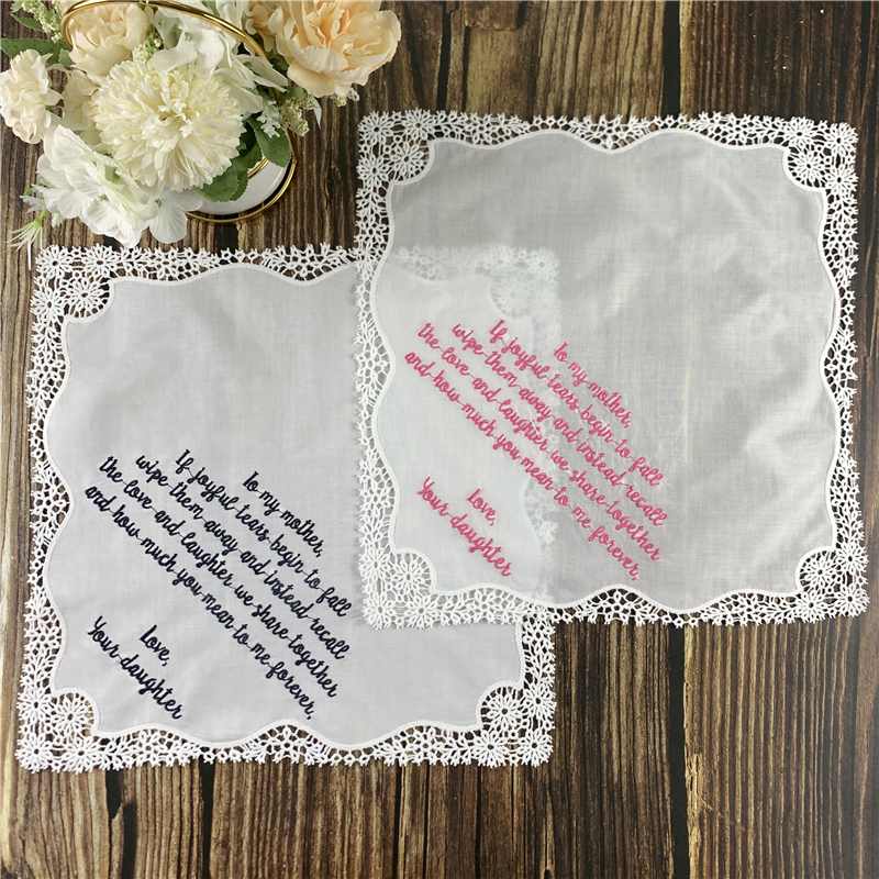 Set Of 12 Fashion Personalized  Wedding Handkerchief 12x12-inch  White Soft Cotton Lace Crochet Hankies Vitage Hanky