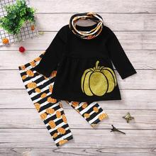 купить Toddler Kids Baby Girls Clothes  Long Sleeve Pumpkin Tops Stripe Pants Halloween Costume Outfits Set дешево