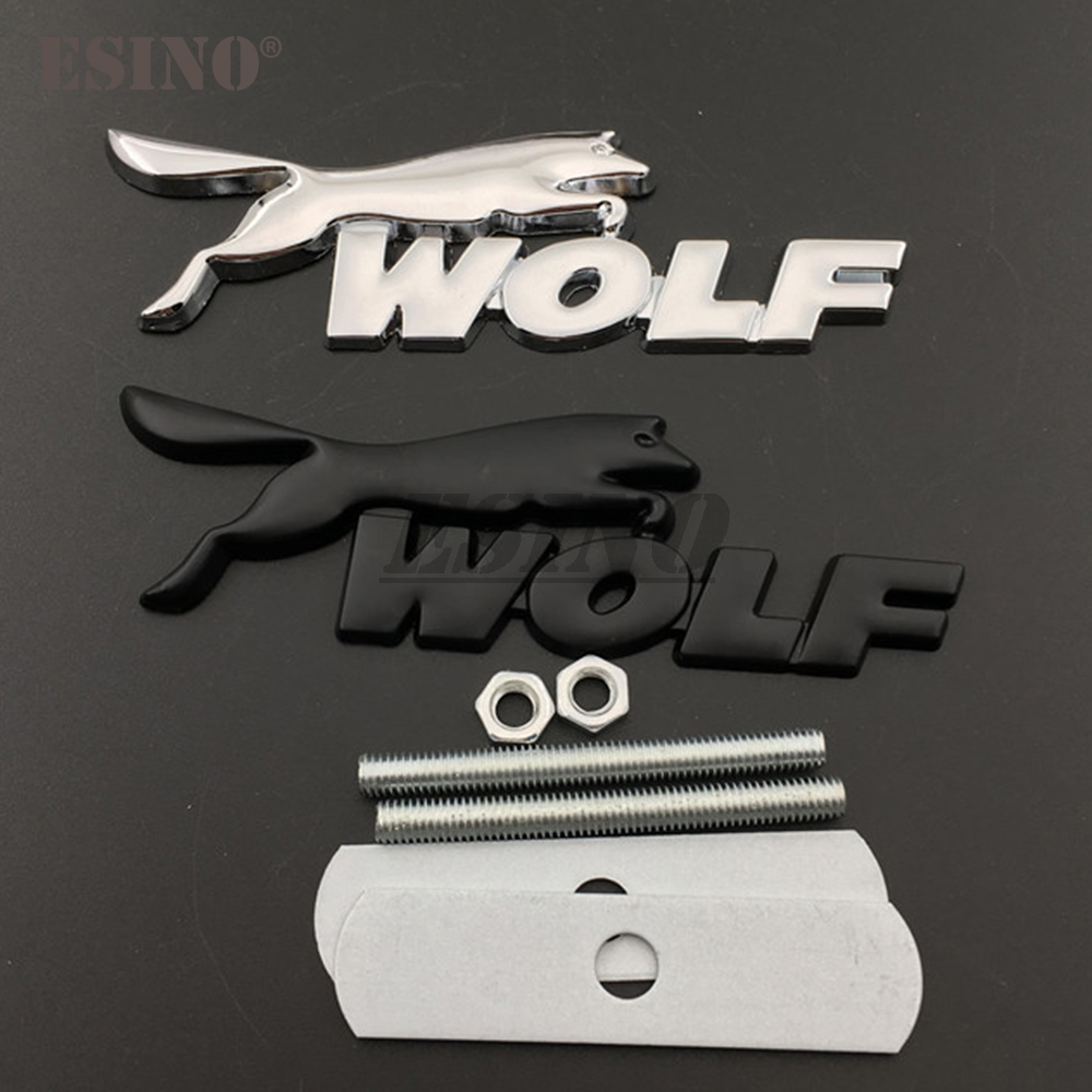 3D Wolf Racing Car Front Grill Zinc Alloy Badge Emblem For Car Body Accessories Styling Badge Decal for Ford Focus ST Mustang GT
