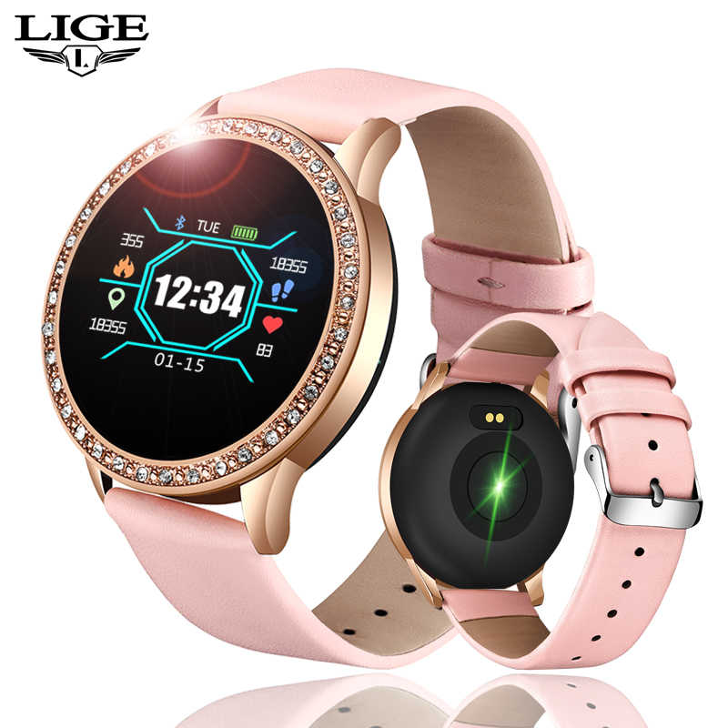 Ini 2019 Baru Wanita Smart Watch Monitor Detak Jantung Fashion Wanita Watch Kebugaran Tracker Sport Smartwatch untuk Android IOS + kotak