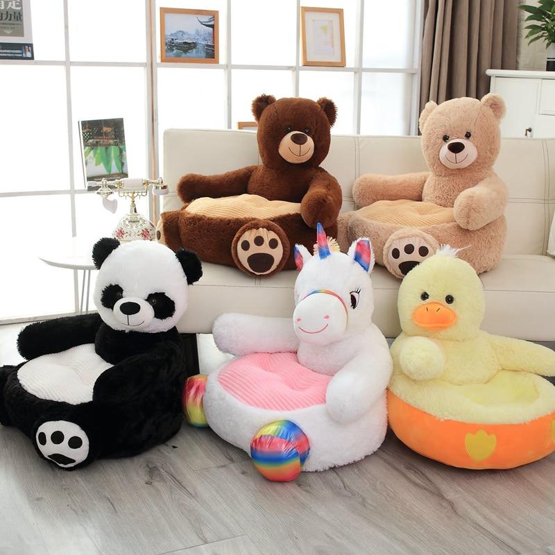 1PCS 50*50*45CM Cartoon Children's Sofa Seat Soft Stuffed Animals Cute Bear Unicorn Panda Duck Cushion Kids Toys Birthday Gift