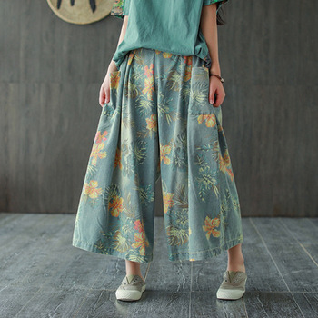 Woman Cotton Denim Printed Wide Leg Pants 2020 New Spring Summer Ethnic Style Elastic Waist Floral Print Loose Casual Jeans