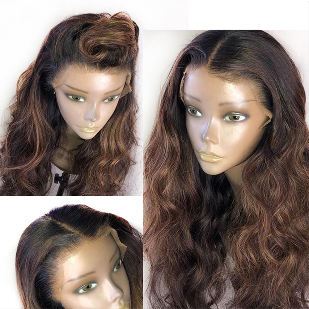 Eversilky 13x4 Lace Front Wig With Baby Hair Pre Plucked Remy Body Wave Human Hair Wigs Ombre Brown Color Highlight Peruvian Wig