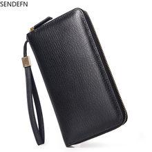 Мужской кожаный кошелек sendefn с длинной ручкой и кожаной верхней