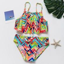 Купальник-бикини с оборками для девочек; комплект из 2 предметов; купальный костюм; летняя пляжная одежда для девочек; купальный костюм; коллекция года