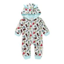 Spring Kids Clothes Baby Boy Girl Casual Cartoon Printed Hoodie Romper Infant Small Ears Long Sleeve Jumpsuit Costumes Outwear(China)