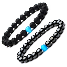 Fashion Lava Stone Opal Bracelets Men Natural Hematite Obsidian Opal Beads Balance Bracelet New Charm Bracelet Good Luck Jewelry