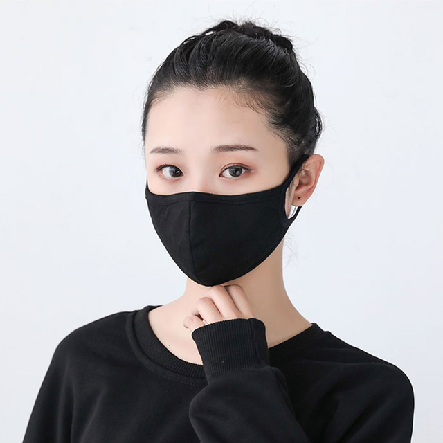 Anti dust-masks PM 2.5 mask Cotton dust  training masks wind proof mouth-muffle flu face masks Activated carbon filtration Black 1