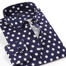 Men's Long-Sleeve Standard-Fit Polka Dot Printed Shirt Pocket-less Design Holiday Casual Button-Collar Flower Hawaiian Shirts