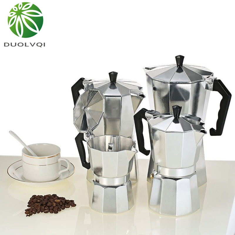 Duolvqi Aluminum Coffee Maker Durable Moka Cafeteira Expresso Percolator Pot Practical Moka Coffee Pot 50/100/150/300/450/600ml