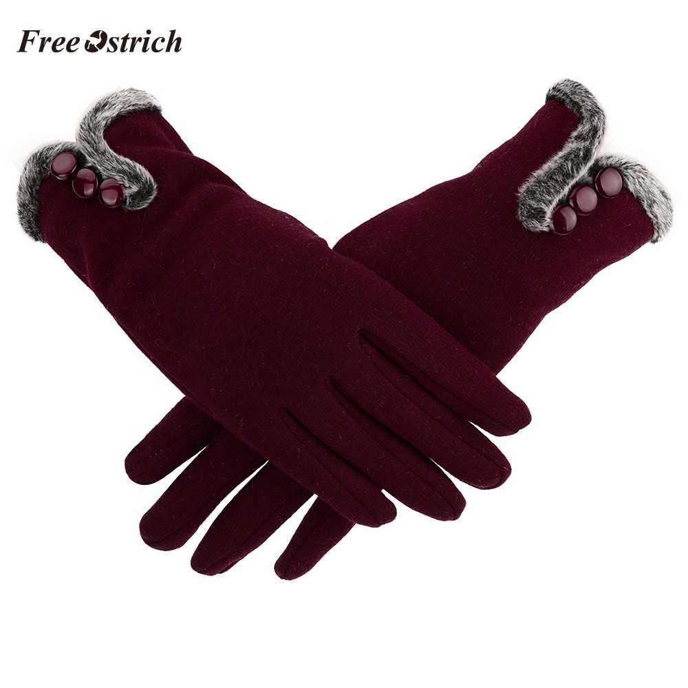 Free Ostrich New Style Women Female Gloves Winter Warm Full Finger Cashmere Gloves Driving mitten Touch Screen Gloves For Mobile