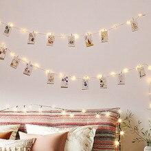 2 متر/5 متر/10 متر USB مصباح ليد سلسلة في الهواء الطلق جارلاند للصور كليب ديكور الجنية/سلسلة أضواء سلسلة بطارية عيد الميلاد الأسلاك النحاسية مصباح