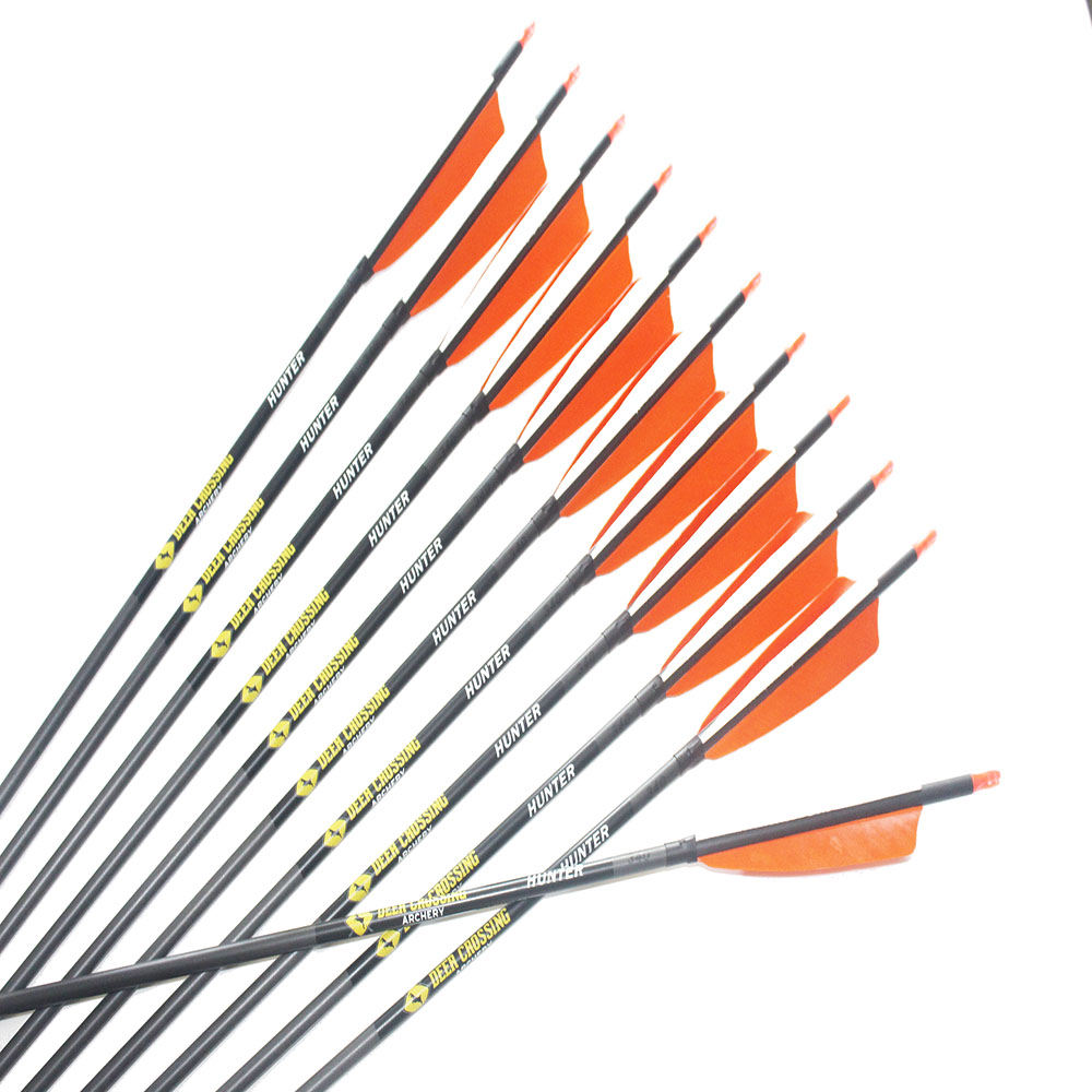 """Details about  /12pcs  carbon express arrows spine300 340 400 500 600 ID6.2mm 5/"""" turkey feather"""
