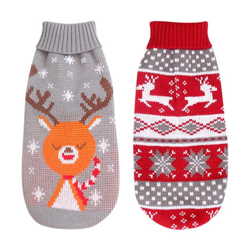 Winter Cartoon Reindeer Chihuahua Pet Clothes Christmas Warm Knitted Dog Christmas Sweater For Small Medium Dogs Clothing
