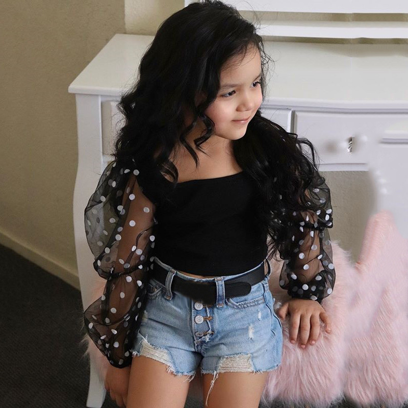 Toddler Baby Girl Clothes Set Puff Sleeve Polka Dot Tops + Tassel Ripped Jean Shorts Outfits Set Children Kids girls clothes 1