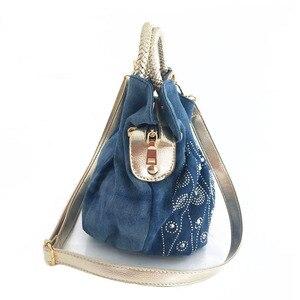 Image 3 - iPinee Luxury Women Demin Handbag Women Messenger Bag Female Jeans Shoulder Bag Womens Rivet Bags sac a main