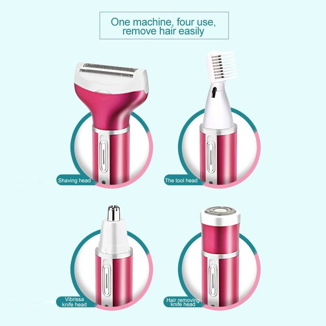 Multifunctional 4 in 1 Hair Remover Electric Epilator Hair Shaver Painless Portable USB Epilator Nose Beard Eyebrow Trimmer 5