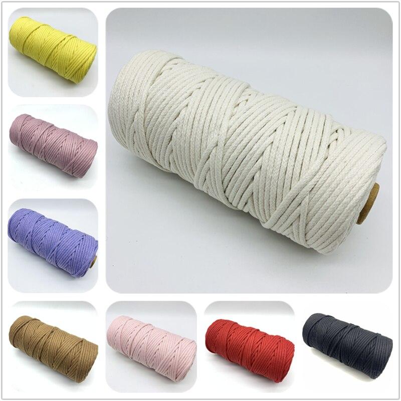 5 ярдов, 4 мм, 100% хлопковый шнур, Плетеный витой шнур, веревка для украшения ручной работы, шнурок «сделай сам», цветные нитки, шнур