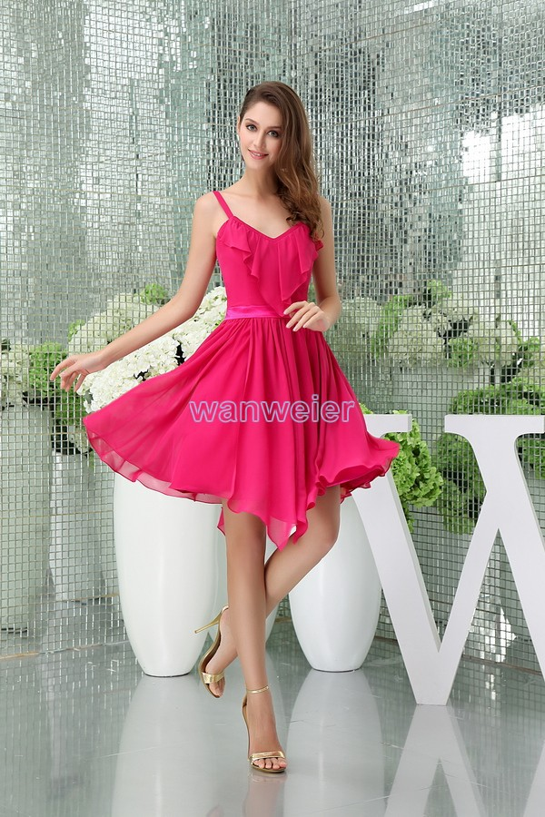 Free Shipping Modest 2016 New Design Hot Sale Straps Custom Size Plus Size V-neck Sexy Gown Short Red Chiffon Bridesmaid Dress
