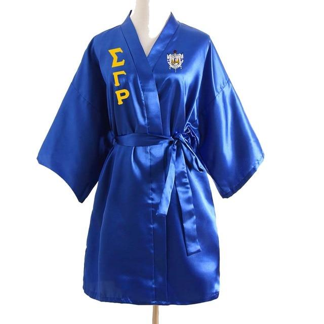 SIGMA GAMMA RHO Silk Bathrobe Lace Satin  SGR  Clothes Robe