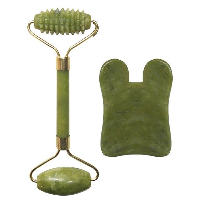 Natural Jade Roller Set Facial Massage Roller Jade Guasha Board Face Body Eyes Neck Massager Tool Skin Beauty Health Care 4